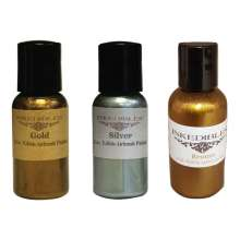 Trio of 60ml Bottles of Dazzle Airbrush Ink - Gold, Silver and Bronze