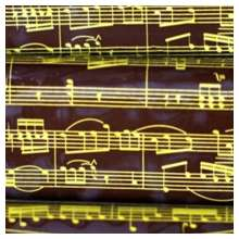 10 in x 15.75 in Pre-printed Inkedibles Chocolate Transfer Sheets (Golden Musical Notes) Includes 25 sheets